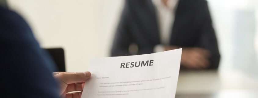 job interview in which applicant undergoes pre-employment screening