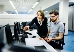two professionals in office consulting on computer